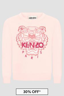 Kenzo Kids Girls Pink Sweat Top