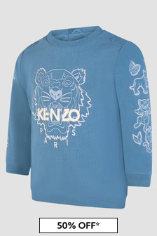 Kenzo Kids Baby Boys Blue Sweat Top