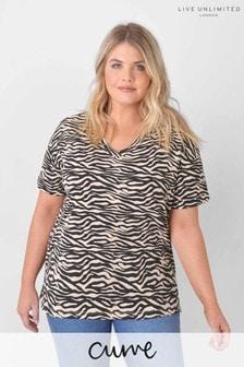 Live Unlimited Curve Zebra Cotton/Linen Blend T-Shirt