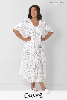 LIVE Curve White And Black Spot Midi Dress