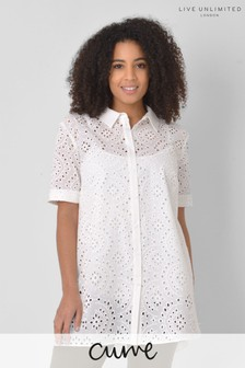 Live Unlimited Curve White Broderie Shirt With Camisole