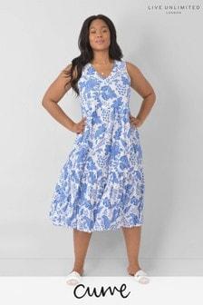Live Unlimited Curve Blue Floral Cotton Lined Midi Dress