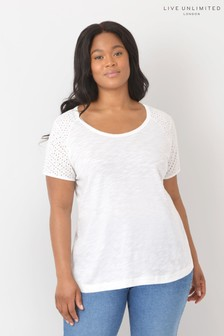Live Unlimited Curve White Broderie Detail T-Shirt