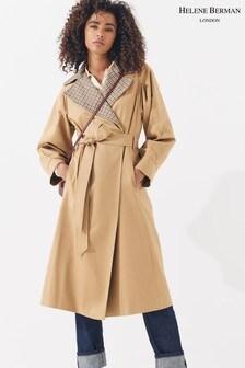 Helene Berman Check Collar Trench Coat