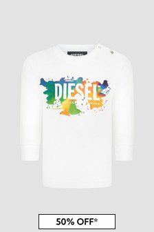 Diesel Baby Boys White T-Shirt