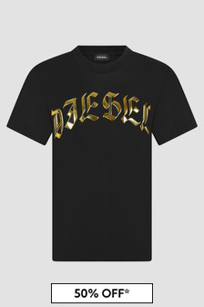 Diesel Boys Black T-Shirt
