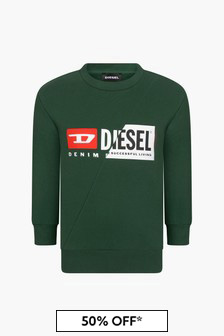 Diesel Boys Green Sweat Top