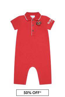 Burberry Kids Red Rompersuit