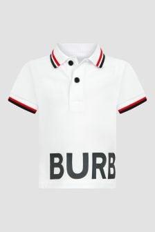 Burberry Kids White Polo Shirt
