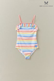 Crew Clothing Company White Rainbow Stripe Bardot Swimsuit
