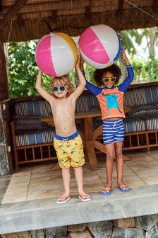 Crew Clothing Company Orange Stingray Rash Vest And Shorts Set