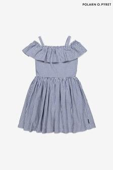 Polarn O. Pyret Blue Organic Cotton Gingham Check Dress