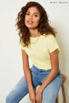 Mint Velvet Yellow Yellow Bow Back Cotton T-Shirt