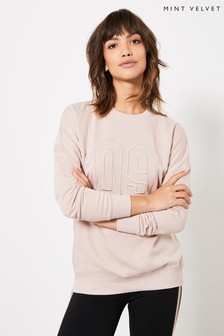 Mint Velvet Pink Pale Pink Varsity Sweatshirt