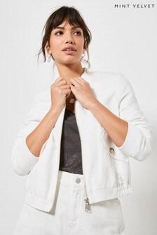 Mint Velvet White Off-White Zipped Bomber Jacket