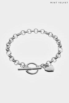 Mint Velvet Silver Silver Tone Heart Charm Bracelet