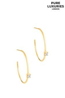 Pure Luxuries London Vilma Yellow Gold Plated Silver Open Hoop Earrings