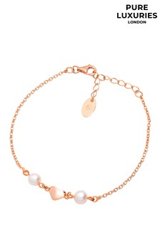 Pure Luxuries London Agneta Rose Gold Plated Sterling Silver Heart Bracelet