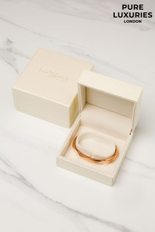 Pure Luxuries London Aurelle Rose Gold Plated Sterling Silver Bangle