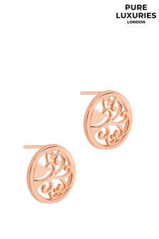 Pure Luxuries Fosette Rose Gold Plated Silver Branch Earrings