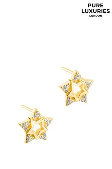 Pure Luxuries London Delisle Yellow Gold Plated Silver Star Stud Earrings