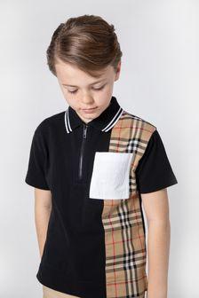 Burberry Kids Boys Black Polo Shirt