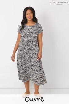 LIVE Curve Sustainable Viscose Mono Floral Midi Dress