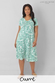 LIVE Curve Sustainable Jersey Green Floral Swing Dress