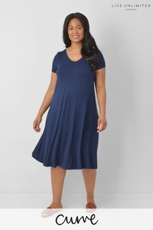 LIVE Curve Sustainable Viscose Jersey Navy Swing Dress