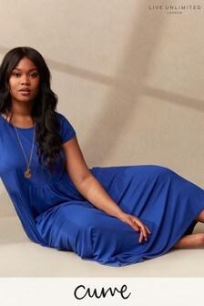 LIVE Curve Sustainable Viscose Jersey Blue Midi Dress