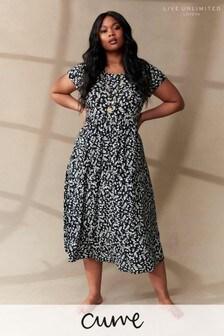 LIVE Curve Sustainable Viscose Jersey Mono Ditsy Midi Dress