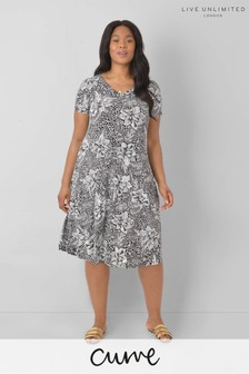 LIVE Curve Sustainable Jersey Mono Floral Swing Dress