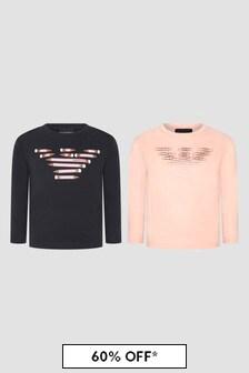 Emporio Armani Girls Navy T-Shirts 2 Pack