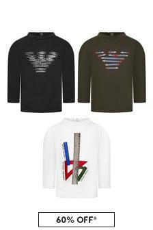 Emporio Armani Baby Boys Black T-Shirts 3 Pack