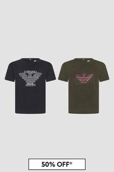 Emporio Armani Baby Boys Navy T-Shirts 2 Pack