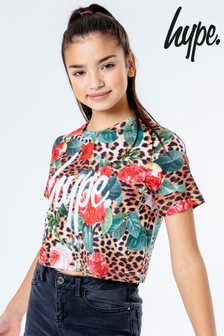 Hype. Jungle Leopard Crop T-Shirt