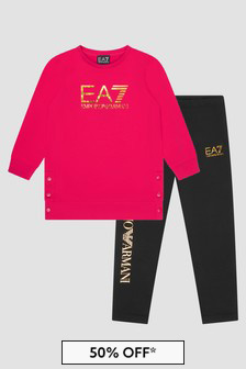 EA7 Emporio Armani Girls Red Tracksuit