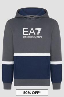 EA7 Emporio Armani Boys Grey Sweat Top