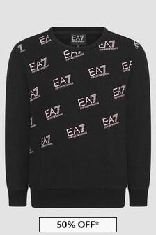 EA7 Emporio Armani Girls Black Sweat Top