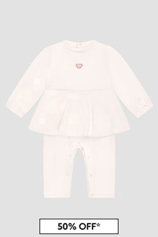 Emporio Armani Baby Girls Pink Sleepsuit