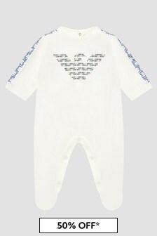 Emporio Armani Baby Boys White Sleepsuit
