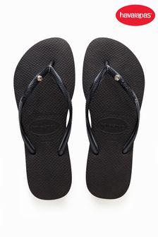 Havaianas Black Slim Crystal SW II Flip Flops
