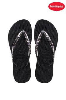 Havaianas Slim Black Flatform Glitter Flip Flops