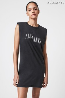 AllSaints Black Coni Dropout Dress