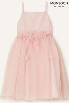 Monsoon Pink Blossom Glitter Tulle Dress