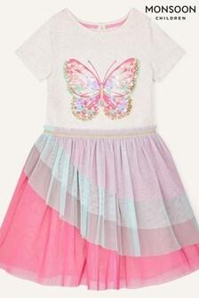 Monsoon Pink Butterfly Ruffle Disco Dress