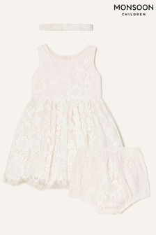 Monsoon Pink Newborn Valeria Lace Set