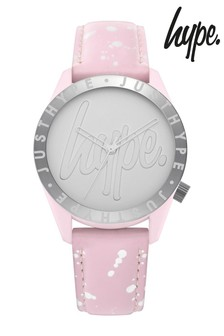 Hype. Baby Pink And Silver  Speckle Script Watch