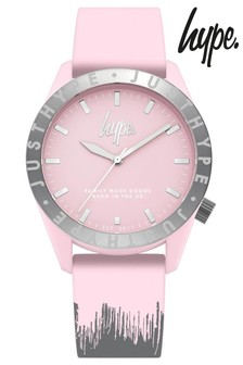 Hype. Baby Pink And Grey Paint Drip Watch
