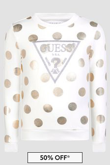 Guess White Sweat Top